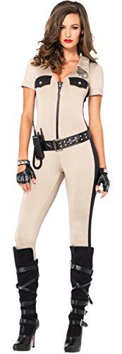 Sheriff Costume Leg Avenue (Leg Avenue Womens Sheriff Deputy Zipper Front Sexy Catsuit Halloween Costume, L (10-14))