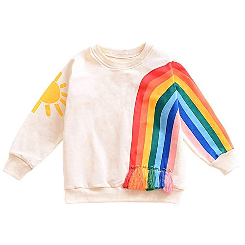 2018 Newborn Toddler Autumn Baby Girl Boys Clothes Tassel Rainbow Sun Pattern Long Sleeve Sweatshirt Crewneck Pullover Tops Outfits 0-4 Years 6-12 Month