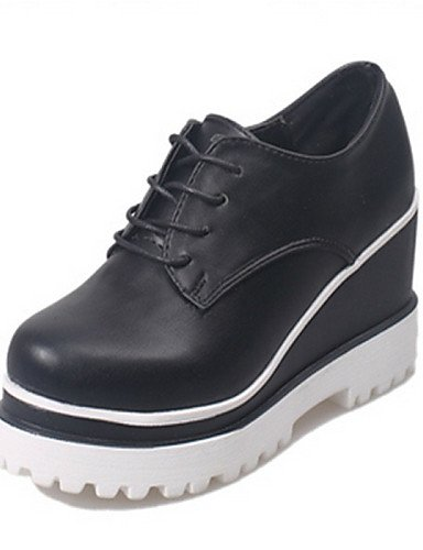 cn39 Cuña eu39 uk6 cn39 us7 Negro us8 mujer Tacón uk6 de eu38 white ZQ white Oxfords 5 eu39 cn38 uk5 Casual Semicuero 5 Redonda Zapatos white Punta Blanco us8 RqH1ExgIaw