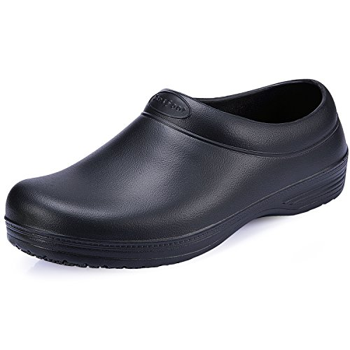 SensFoot Slip Resistant Work Shoes For Women/Men Lightweight Non Slip Black Chef Clogs (9 B(M) US Women/7 D(M) US Men)  - Waterproof Womens Clogs