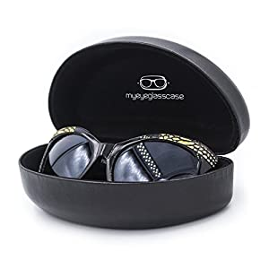 Best Deal on Sunglasses/Eyeglasses Case | 100% | Many Colors | Medium Large | for Men & Women | Metal | Hard | Clam-shell | (AS179 Black with Cloth)
