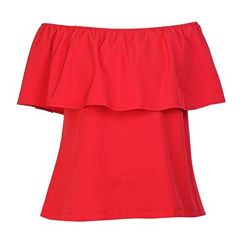 BLDO Women's Ruffles Off Shoulder Solid Chiffon Blouse Crop Top (M, Red) - Ruffle Off Shoulder