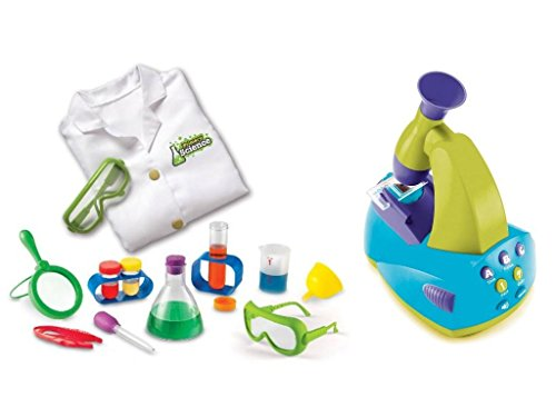Learning Resources 14-Piece Primary Science Kits for Kids with Young Scientist's Lab Coat and Lab Glasses, and Educational Insights GeoSafari Jr. Talking Microscope Set with Slides (Jumbo White Bunny Kit)