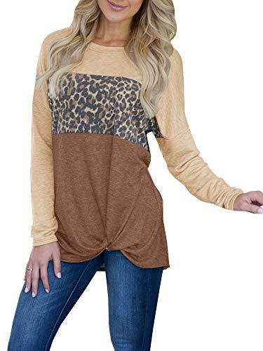 Klousilover Womens T Shirts Casual Knot Front Long Sleeve Sweatshirt Leopard Print Tunic Tops