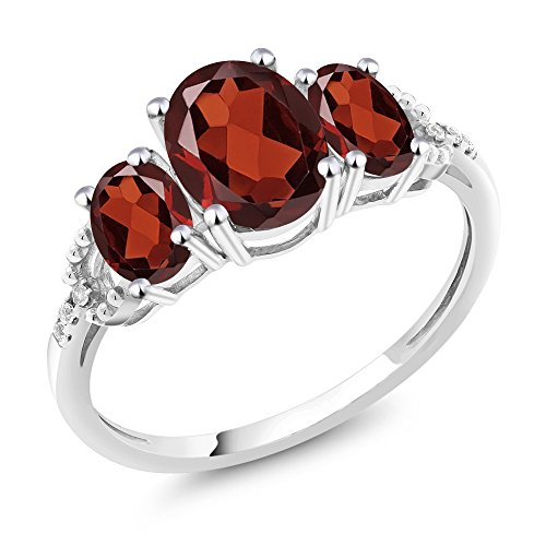 - Gem Stone King 10K White Gold Diamond Accent 3-Stone Engagement Ring set with 2.25 Ct Oval Red Garnet (Size 8)