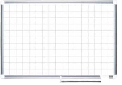 MasterVision Planning Board Porcelain Dry Erase Magnetic 1'' x 1'' Grid, 36'' x 48'' Whiteboard with Aluminum Frame by MasterVision