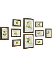 SONGMICS Bildramar uppsättning med 10 bilder, för 20 x 25 cm (8 x 10 tum), 4 bilder i 13 x 18 cm (5 x 7 tum), 4 foton i 10 x 15 cm (4 x 6 tum), plastskiva, MDF, vintagebrun RPF310X01