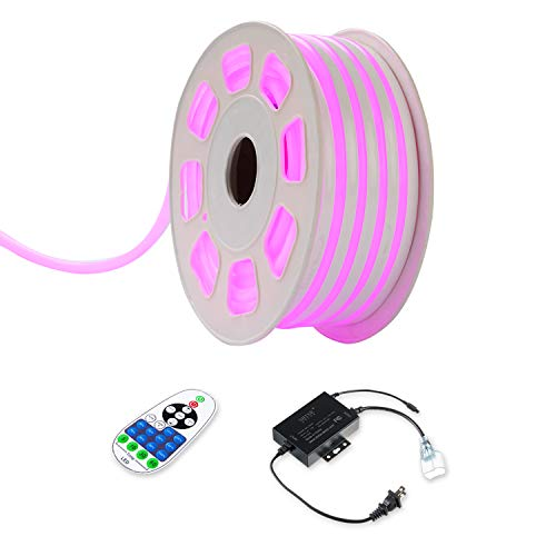Led Neon Tubes (Shine Decor 15x25mm LED Neon Lights, 110V Dimmable Flexible Waterproof Rope Lights, 2835 120LEDs/M, for Indoor Outdoor Commercial Lighting Decoration, Accessories Included, 50ft Pink)