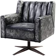 Benjara, Black Channel Tufted Leatherette Office Chair with Metal Star Base