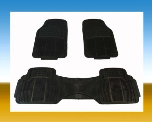 BDK Heavy Duty Rubber Floor Mats - Universal for Car Truck SUV - Full 3pc Set in Black by COUNTRY ONE