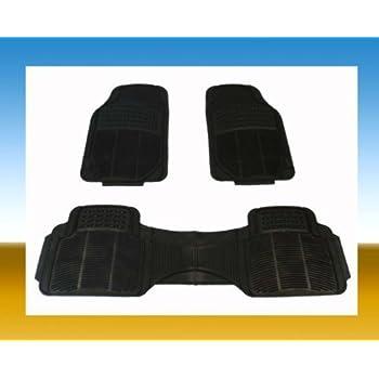 BDK Heavy Duty Rubber Floor Mats - Universal for Car Truck SUV - Full 3pc Set in Black