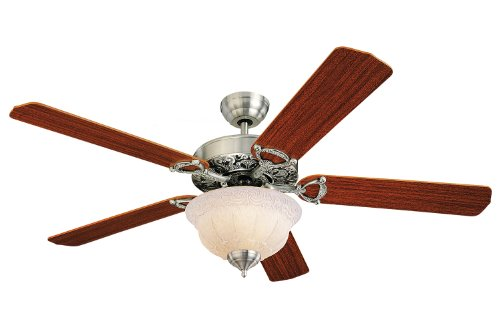 """Monte Carlo 5OR52EPD-L, Ornate Elite Ceiling Fan with Light, 52"""", English Pewter"""