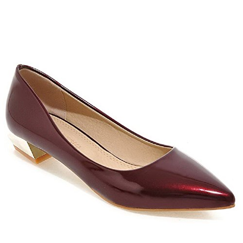 AllhqFashion Womens Pointed Closed Toe Low Heels Patent Leather Solid Pull on Pumps-Shoes Claret 4VU9b