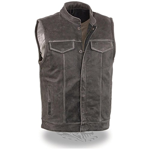 Milwaukee Leather Mens Open Neck Snap/Zip Front Club Style Distressed Grey Leat - Large