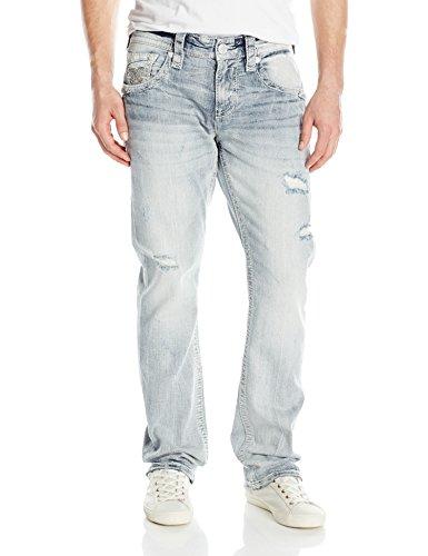 Rock Revival Men's Straight Fit Jean, Light Blue, 42
