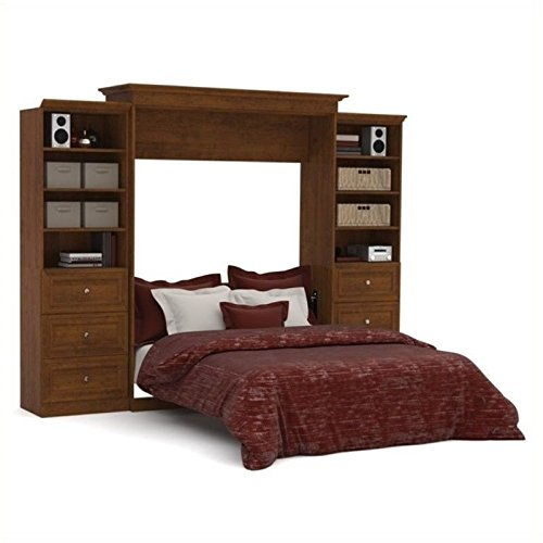 BOWERY HILL Queen Storage Wall Bed in Tuscany Brown