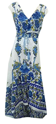 Womens Floral Swing Cromoncent Neck V Boho Dress Pleated Print Blue Beach Maxi dFSn7YS