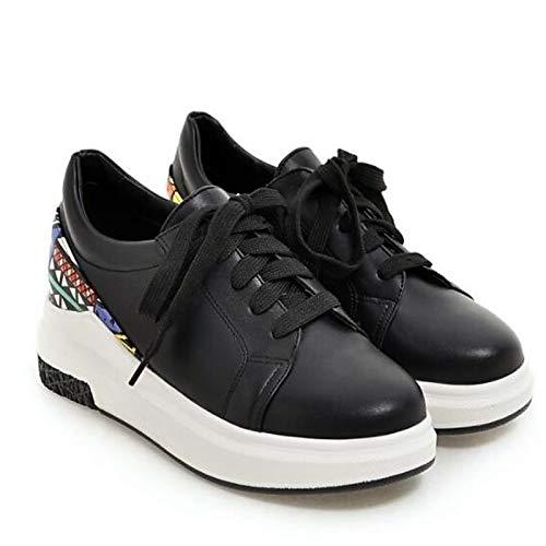 White Nero Toe Comfort Primavera Estate ZHZNVX poliuretano Creepers Scarpe Bianco donna PU da Closed Sneakers 0Xw6PqO