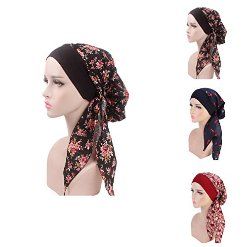 Ever Fairy Women Vintage Elastic Wide Band Chemo Head Scarf Turbans Night Sleep Hat Cap