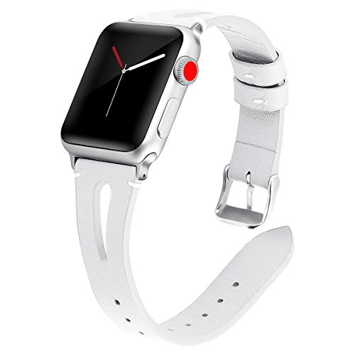 White Milled Leather - Kaome Leather Band Compatible for Apple Watch Band 40mm 38mm, Slim Elegant Strap, Women Replacement Bands for iWatch Series 4, Series 3, Fashionable Feminine Breathable Slit Design-White