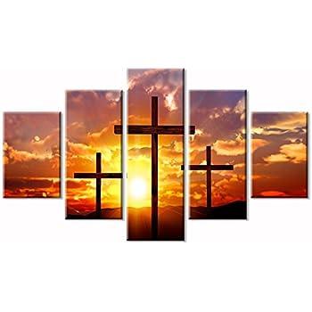 Viivei Christian Sunset Crosses Cross Wall Art Christ Poster Canvas Prints Art Home