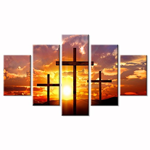 (VIIVEI Christian Sunset Crosses Cross Wall Art Christ Poster Canvas Prints Art Home Decor for Living Room Modern Pictures 5 Panel Large HD Printed Painting Artwork Framed Ready to Hang)