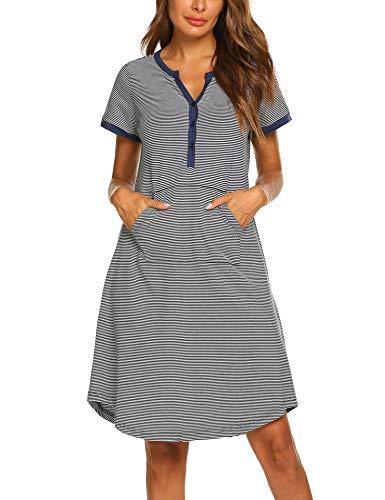 Ekouaer Women Striped Short Sleeve Nightshirt Sleep Wear Cotton Pajamas Navy ()