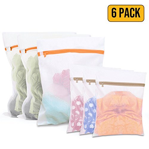 Set of 6 Laundry Mesh Bag for Delicates - (3 Large + 3 Small) for Hosiery, Stocking, Underwear, Bra and Lingerie