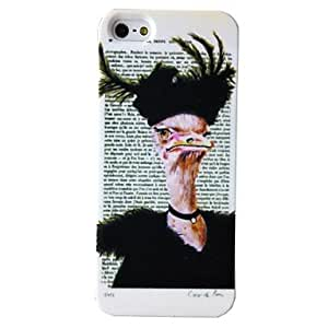 Punk Ostrich Letters Pattern Plastic Hard Case for iPhone 5/5S , Multicolor