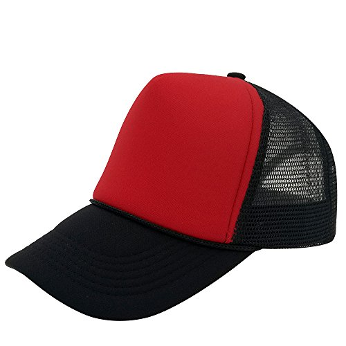 Unisex Plain Baseball Cap Trucker Mesh Hat Adjustable Snap Back with Rope Front (Black/Red)