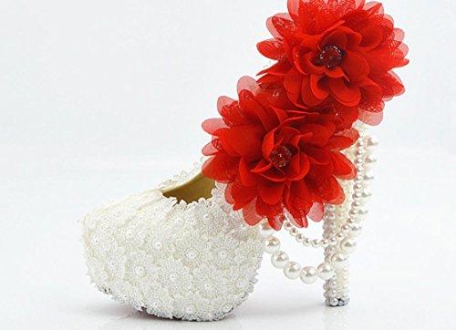 YCMDM scarpe da sposa Large Size Ultra High con il vestito da sposa rotonda scarpe da damigella d'onore del locale notturno Lace Bianco Fiore Rosso , 8 cm with high reservation , 39