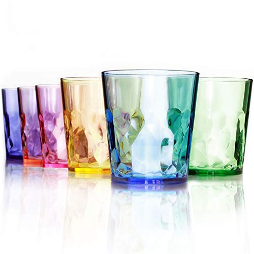 13 oz Unbreakable Premium Drinking Glasses - Set of 6 - Tritan Plastic Cups - BPA Free - 100% Made in Japan (Assorted Colors)