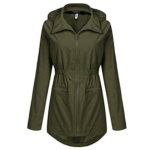 Giacca Esercito Trench Cappuccio Con Impermeabili Da Outdoor Unbrand Active Donna Antipioggia 2 Verde ZPwxEnq6H