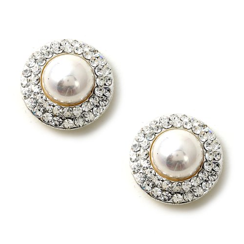 (Silver Crystal Rhinestone Double Row Circle Around a White Pearl Center Earrings)