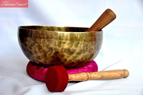 The Heart and High Heart Chakra F Note Antique Hand Hammered Tibetan Meditation Singing Bowl 8 Inches - Yoga Old Bowl By Singing bowl house thamelmart 4334202560