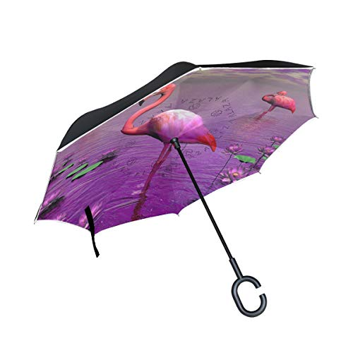 Reverse Umbrella,Pink Beautiful Flamingos Inverted Night Reflective Edge Golf Umbrellas,Double Layered Polyester Canopy,O-Shape Handle