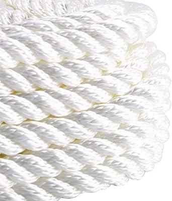 White Amarine-made 5//8 inch 50 feet 3 Strand Twisted Nylon Rope Dockline US Ship