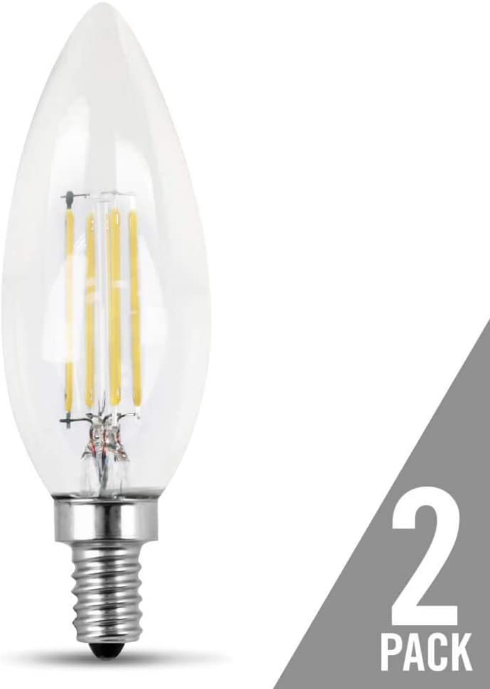 Torpedo Tip 500 Lumen Clear Pack of 24 Candelabra Base Feit Electric Filament LED 2700K 60 Watt Equivalent Dimmable Decorative Bulb
