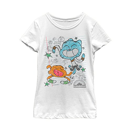 T-shirt Notepads - Fifth Sun The Amazing World of Gumball Girls' Notepad Doodle Print White T-Shirt