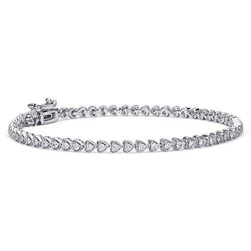 OMEGA JEWELLERY 14K White Gold Round Diamond Heart Promise Tennis Bracelet for Women (1 Cttw)-7 inches.