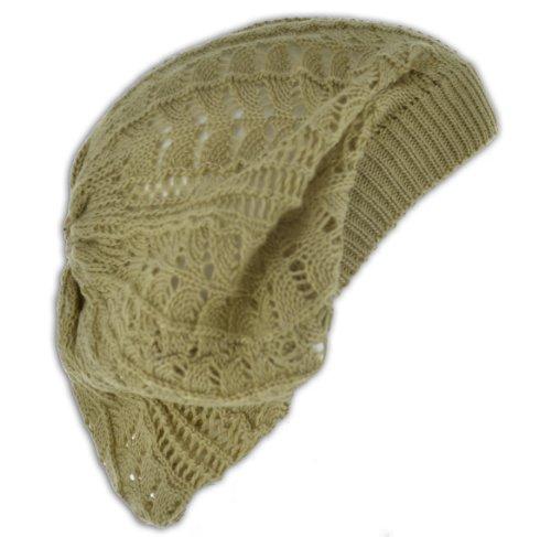 Womens Fashion Crochet Beanie Hat Knit Beret Skull Cap Tam (Tan)