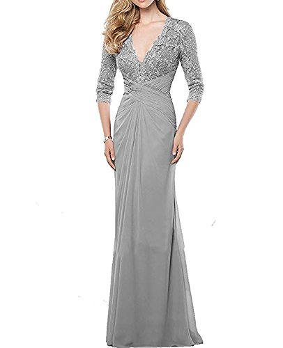 257b76981f ... Women s Chiffon Floor Length Mother of The Bride Dress Lace V Neck Formal  Evening Dress(Customized Size