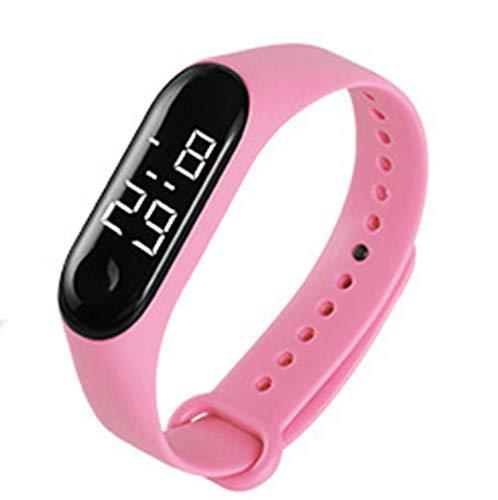 FIZILI Boys Watch LED Sport Digital Touch Screen Outdoor Black Watches Boys Girls Men Women Gift Dress Watch New Pink (White Light)