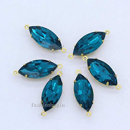 Pukido 30p 7x15mm Navette Crystal Rhinestones Faceted Framed Glass Pendants Connectors Earrings findings Beads Charm Brass Set 2 Loops - (Color: Capri Blue)