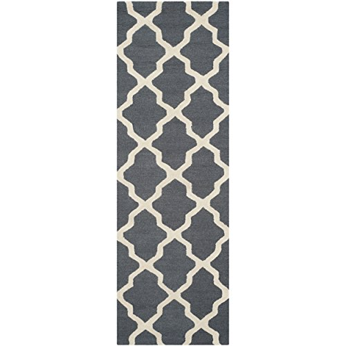 Safavieh Cambridge Collection CAM121X Handmade Moroccan Geometric Dark Grey and Ivory Premium Wool Runner (2'6