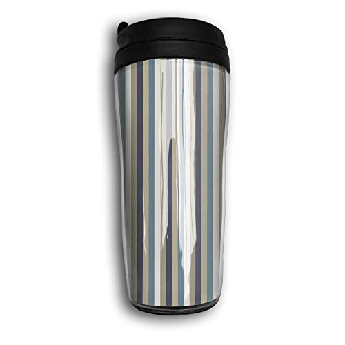 PIOL Carry Travel Double Wall Mug Water Bottle Hut Stripe Thermal Bottle Insulation Stainless Steel Coffee Thermos Cup (350 Ml )
