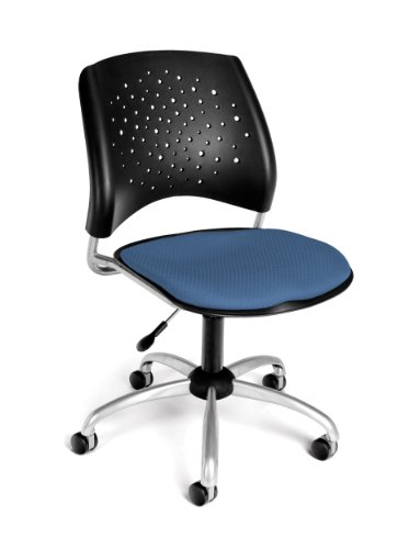 OFM Stars Series Armless Fabric Swivel Chair, Cornflower Blue