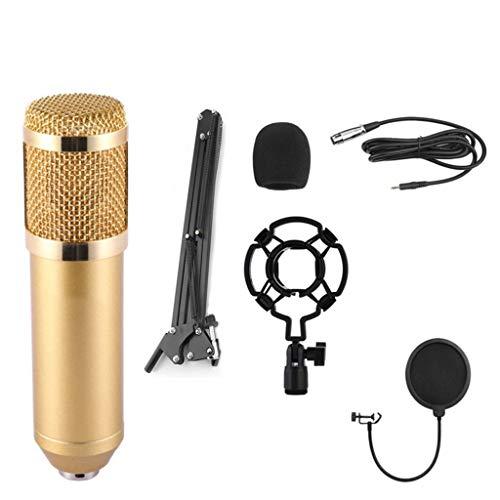 Condenser Microphone Bundle, Adjustable Mic Suspension Scissor Arm, Metal Shock Mount and Double-Layer Pop Filter for Studio Recording (Gold) ()