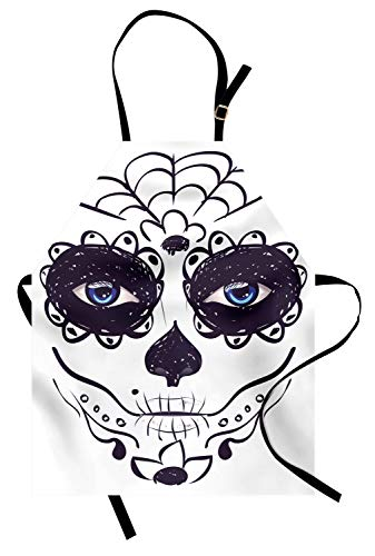 Ambesonne Day of The Dead Apron, Dia de Los Muertos Sugar Skull Girl Face with Mask Make up Print, Unisex Kitchen Bib Apron with Adjustable Neck for Cooking Baking Gardening, Black Print -