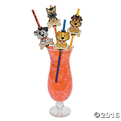 Puppy Dog Paper Party Straws - 24 ct (Puppies Paper)